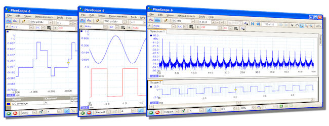 oscilloscope, spectrum analyser and AWG software